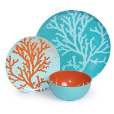 Melamine Coral 3 Piece Dinnerware Set