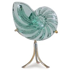 Hand Cast Glass Nautilus on Metal Stand Statue