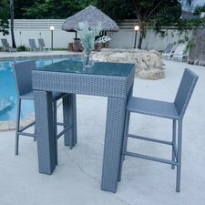Grey Synthetic Rattan Three Piece Outdoor Dining Set or Pub Table