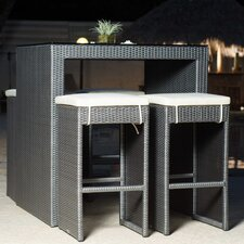 Hallandale Grey Synthetic Rattan Five Piece Outdoor Dining Set or Pub Table