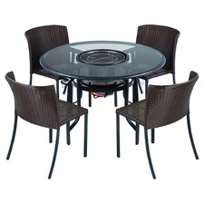 TableQ 5 Piece Dining Set with Firepit