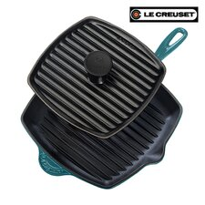 "Cast Iron 10"" Panini Pan and Skillet Grill Set"