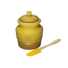 <strong>Le Creuset</strong> Stoneware 20 oz. Mustard Jar with Silicone Spreader