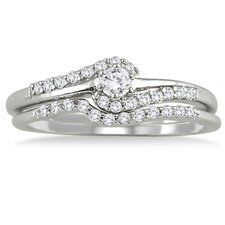 10K White Gold Round Cut Diamond Bridal Ring