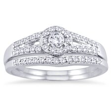 <strong>Szul Jewelry</strong> White Gold Round Cut Diamond Bridal Ring Set