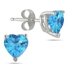 All Natural Heart Cut Gemstone Stud Earrings