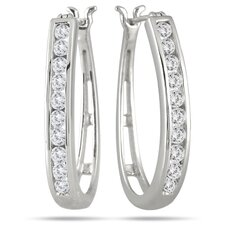 <strong>Szul Jewelry</strong> Round Cut Diamond Hoop Earrings