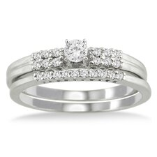 <strong>Szul Jewelry</strong> 10K White Gold Round Cut Diamond Bridal Ring Set