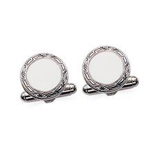 Sterling Silver Round Framed Cufflinks