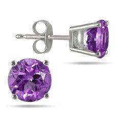 All Natural Genuine Round Cut Gemstone Stud Earrings