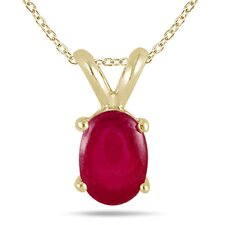 All Natural Genuine 14K Yellow Gold Oval Cut Gemstone Pendant Set