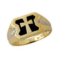 Men's 10K Yellow Gold Round Cut Diamond Ring