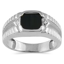Men's 10K Gold Cushion Cut Onyx Ring