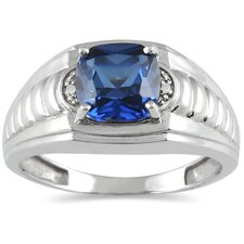 Men's 10K White Gold Cushion Cut Sapphire Ring