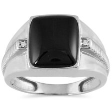 Men's Cushion Cut Onyx Ring
