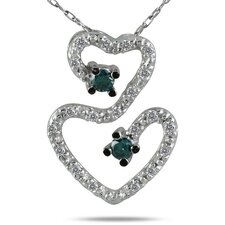 10K White Gold Round Cut Diamond Heart Pendant