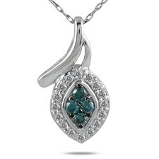 10K White Gold Round Cut Diamond Pendant