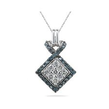 14K White Gold Round Cut Diamond Pendant