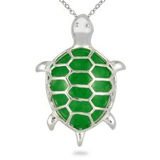 Sterling Silver Jade Turtle Pendant