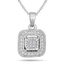 Antique Style Sterling Silver Round Cut Diamond Pendant