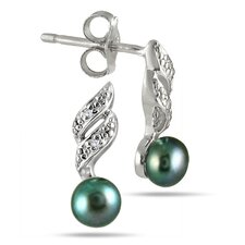 Round Cultured Pearl Drop Earrings