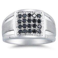 Men's 10K White Gold Round Cut Diamond Ring