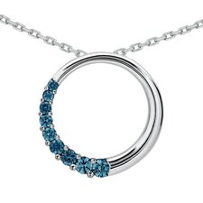 14K White Gold Round Cut Diamond Circle Journey Pendant