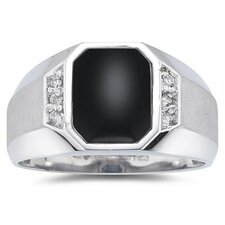 Men's 10K Gold Radiant Cut Onyx Ring