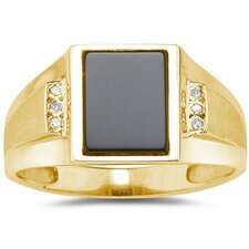 Men's 10K White Gold Radiant Cut Onyx Ring