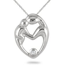 10K White Gold Round Cut Diamond Mother and Baby Pendant
