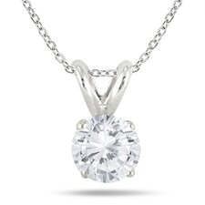 Sterling Silver Round Cut Solitaire Diamond Pendant