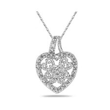 10K White Gold Round Cut Diamond Antique Heart Pendant