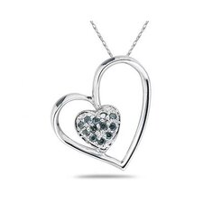 10K White Gold Round Cut Diamond Double Heart Pendant