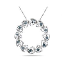10K White Gold Round Cut Diamond Circle Heart Pendant