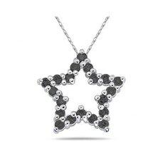10K White Gold Round Cut Diamond Star Pendant