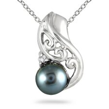 Sterling Silver Round Cut Cultured Pearl Engraved Pendant