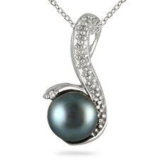 Sterling Silver Round Cut Cultured Pearl Pendant