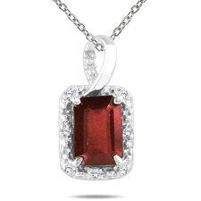 10K White Gold Emerald Cut Gemstone Pendant
