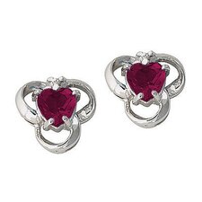 Heart Cut Ruby Stud Earrings