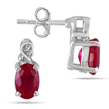 <strong>Szul Jewelry</strong> Oval Cut Ruby Stud Earrings