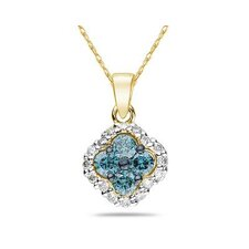 10K Yellow Gold Round Cut Diamond Flower Pendant