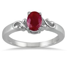 Sterling Silver Oval Cut Ruby Antique Ring