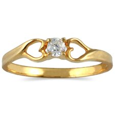 10K Yellow Gold Round Cut Diamond Heart Ring