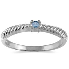 Round Cut Diamond Rope Promise Ring