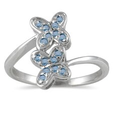 Sterling Silver Round Cut Diamond Butterfly Ring