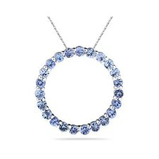 Sterling Silver Round Cut Tanzanite Circle Pendant
