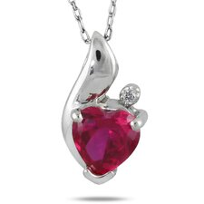 Sterling Silver Heart Cut Ruby Heart Pendant