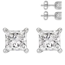 Princess Cut Topaz Stud Earrings