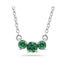 14K White Gold Round Cut Gemstone Pendant Necklace