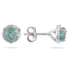 <strong>Szul Jewelry</strong> Round Cut Aquamarine Stud Earrings